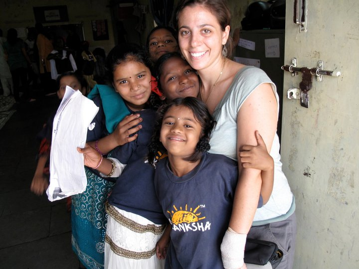 Ana Stern with kids at The Akanksha Foundation where she worked as education manager