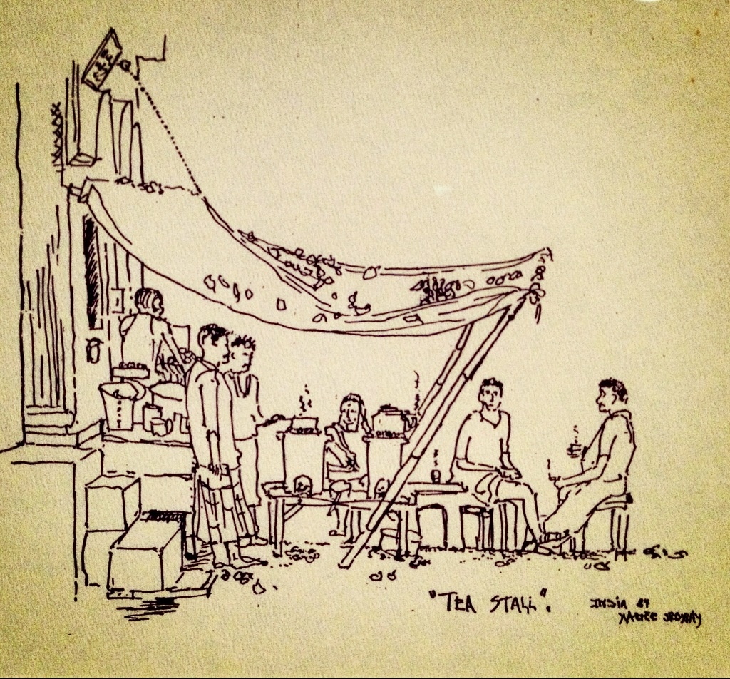 Tea stall ink drawing, 1984 by Walter Ordway