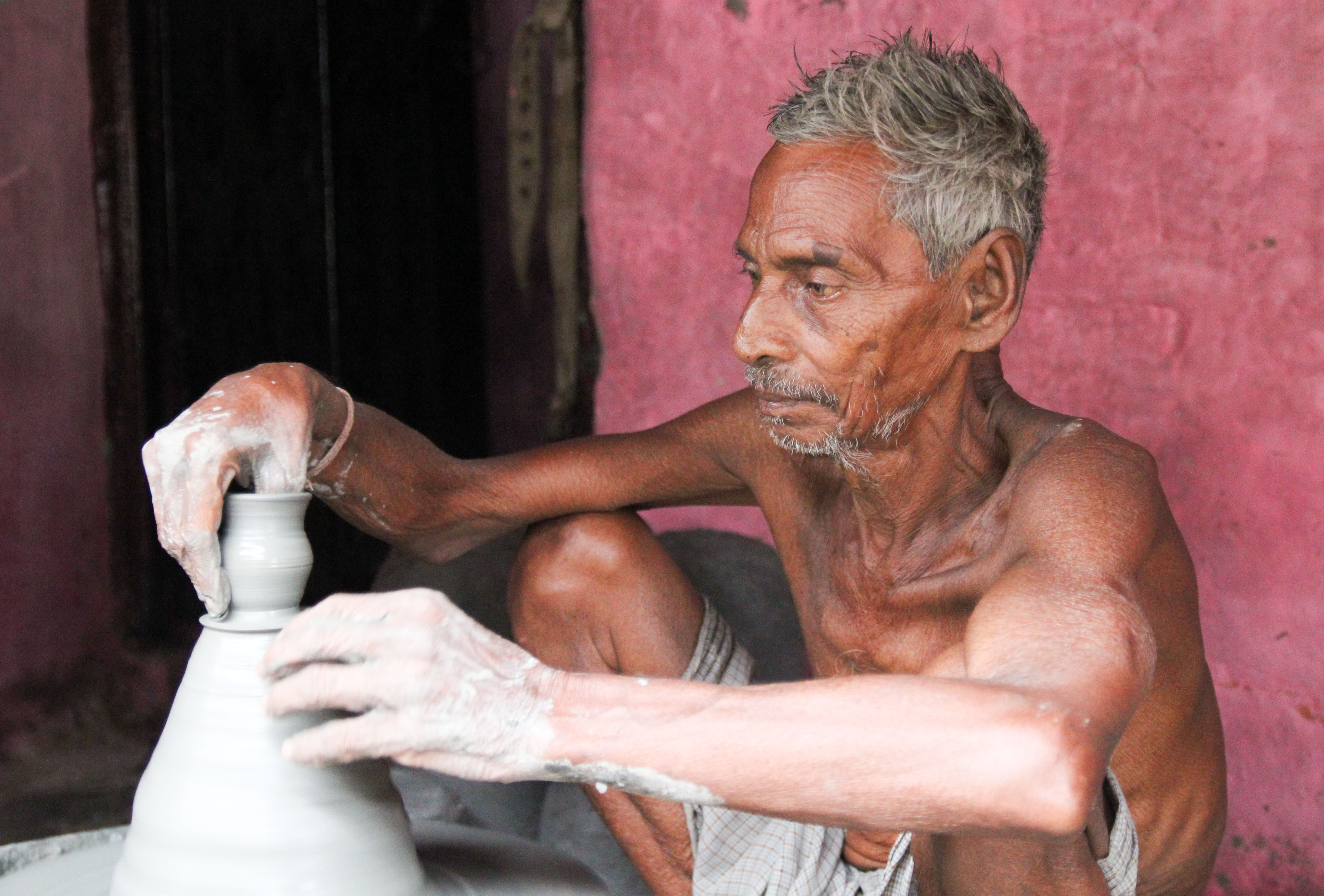 Ramnath at potter's wheel