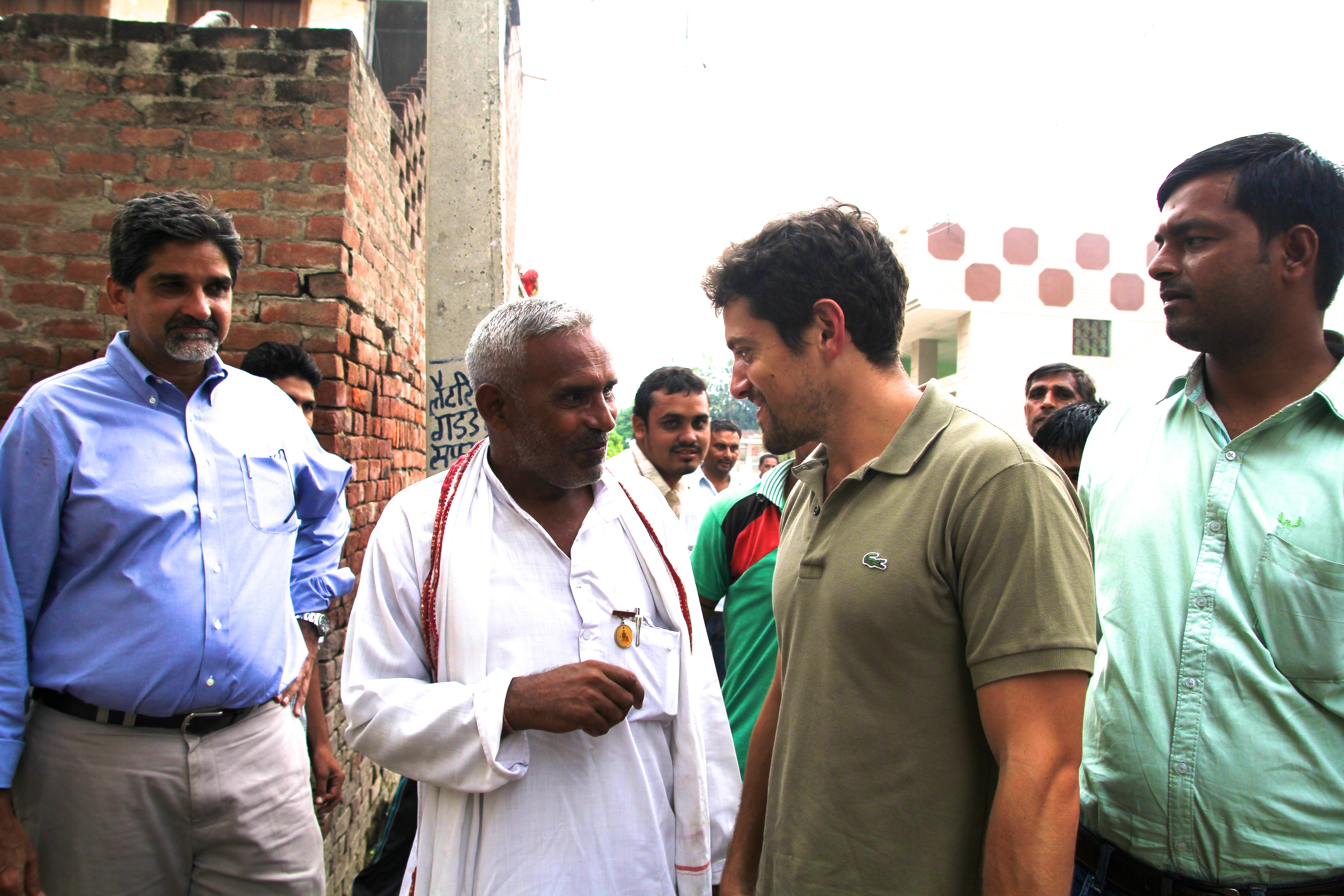 Zach meets the president,  sarpanch , of Hathlana village, Karnal District